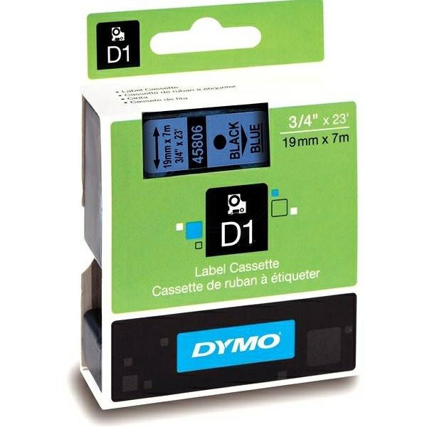 Original Dymo 45806 / S0720860 DirectLabel-Etiketten schwarz auf blau