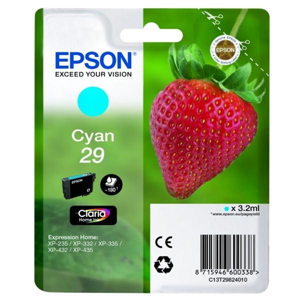 Original Epson C13T29824012 / 29 Tintenpatrone cyan 3,2 ml 180 Seiten