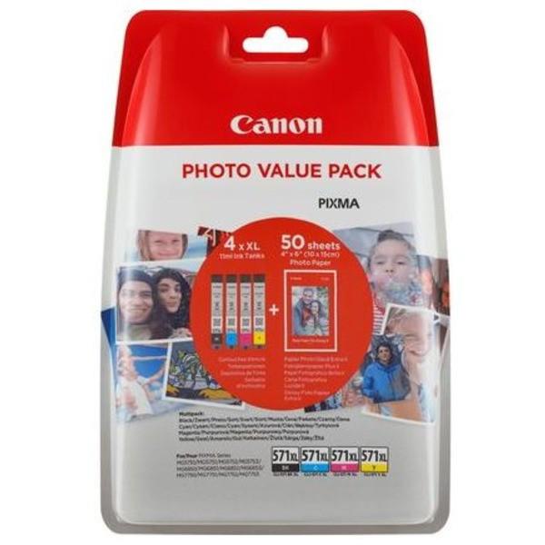 Original Canon 0332C005 / CLI-571 XL Tintenpatrone MultiPack Bk,C,M,Y + Fotopapier 50 Blatt 11 ml