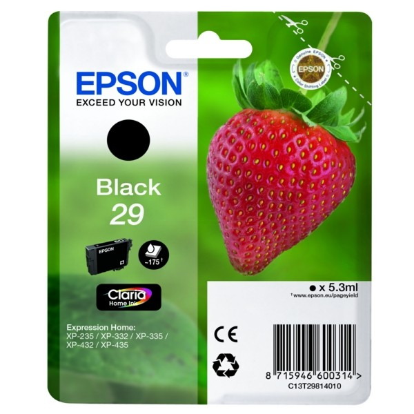 Original Epson C13T29814012 / 29 Tintenpatrone schwarz 5,3 ml 175 Seiten