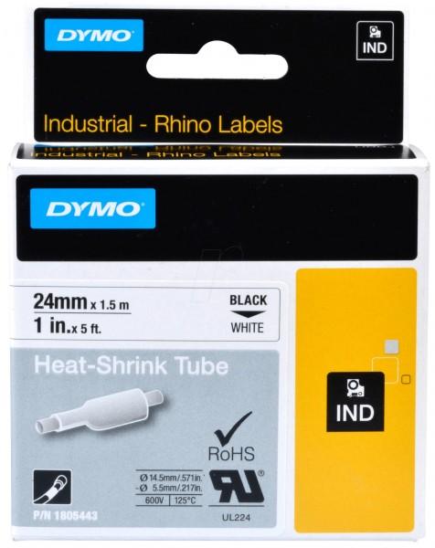 Original Dymo 1805443 / S0718340 Heissschrumpfschlauch schwarz auf weiss 24mm x 1,5m
