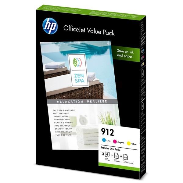 Original HP 6JR41AE / 912 Tintenpatrone MultiPack C,M,Y + Fotopapier 315 Seiten