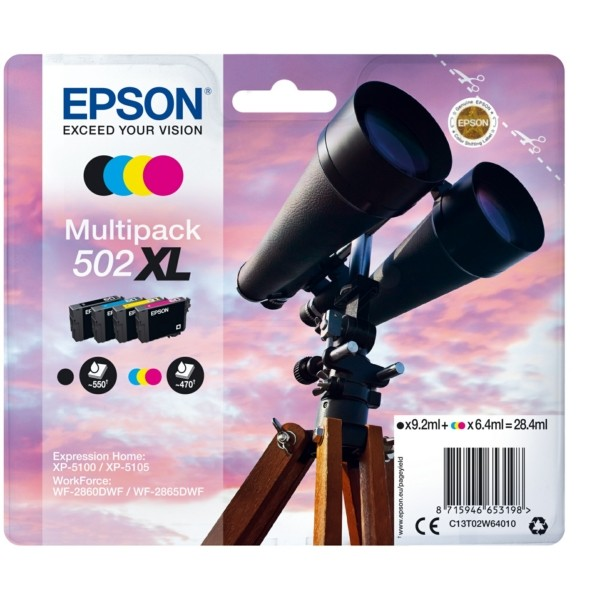 Original Epson C13T02W64010 / 502XL Tintenpatrone MultiPack Bk,C,M,Y 9,2ml + 3x6,4ml