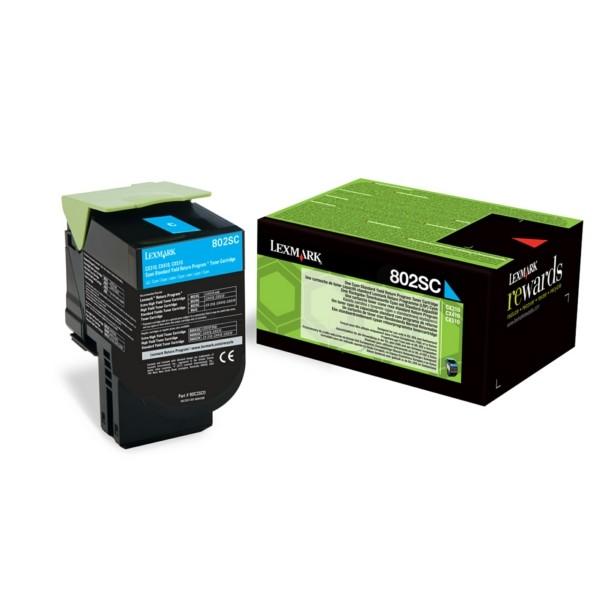 Original Lexmark 80C2SC0 / 802SC Toner-Kit cyan return program 2.000 Seiten