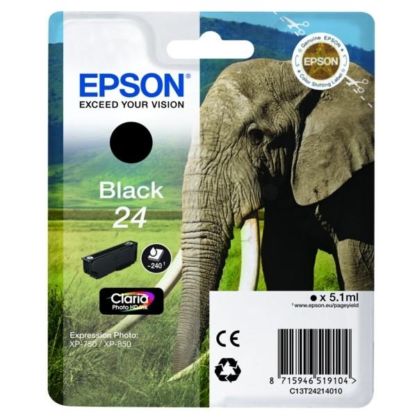 Original Epson C13T24214012 / 24 Tintenpatrone schwarz 5,1 ml 360 Seiten