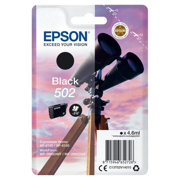 Original Epson C13T02V14010 / 502 Tintenpatrone schwarz 4,6 ml 210 Seiten