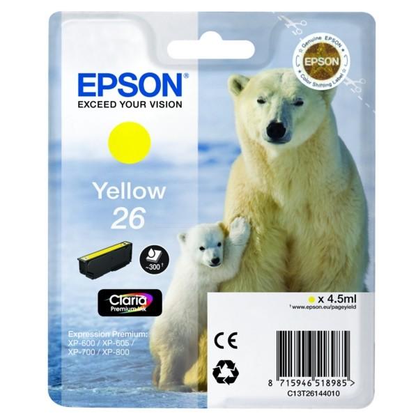 Original Epson C13T26144010 / 26 Tintenpatrone gelb 4,5 ml 300 Seiten