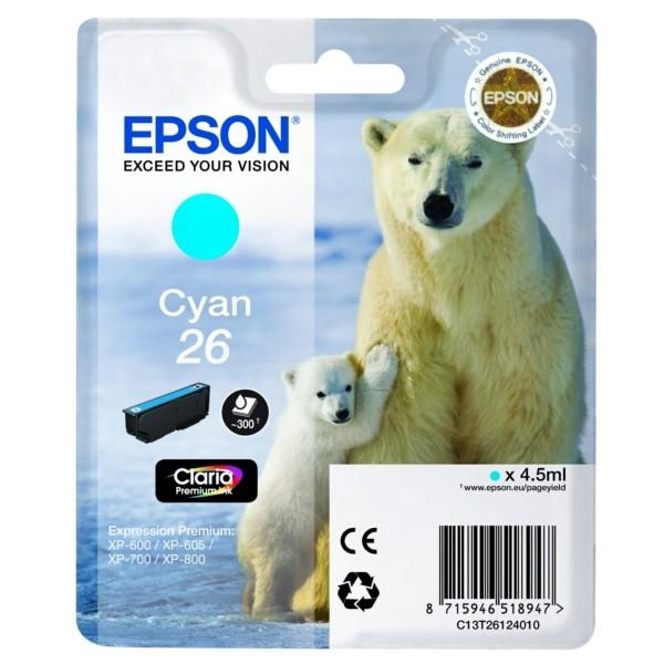 Original Epson C13T26124010 / 26 Tintenpatrone cyan 4,5 ml 300 Seiten