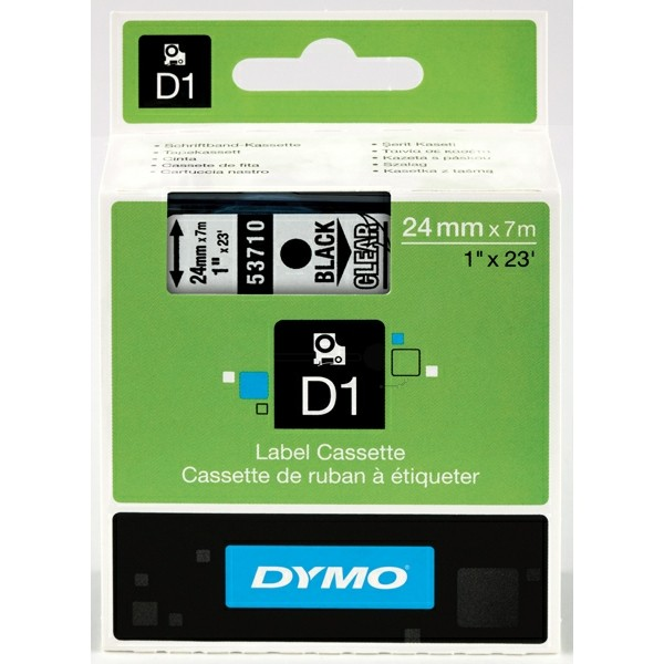 Original Dymo 53710 / S0720920 DirectLabel-Etiketten schwarz auf Transparent