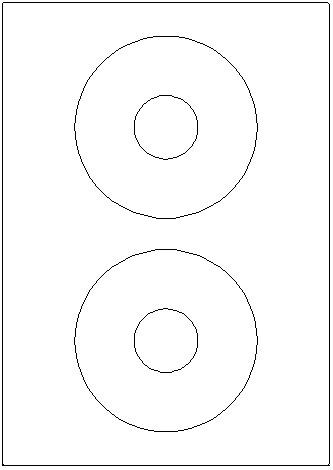 Klebeetiketten DIN A4, CD-Labels 117mm, Laser/Inkjet/Kopierer, 2 Etik/Bl, 100Bl/VE = 200Etik