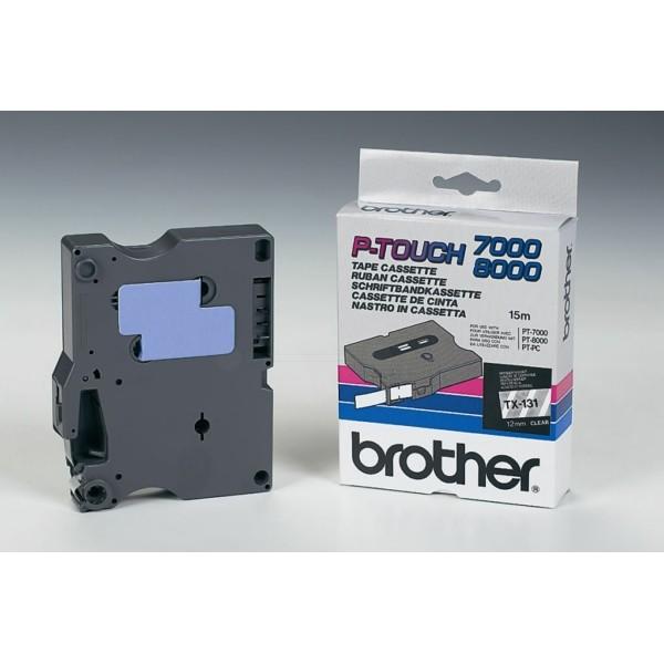 Original Brother TX131 DirectLabel schwarz auf Transparent