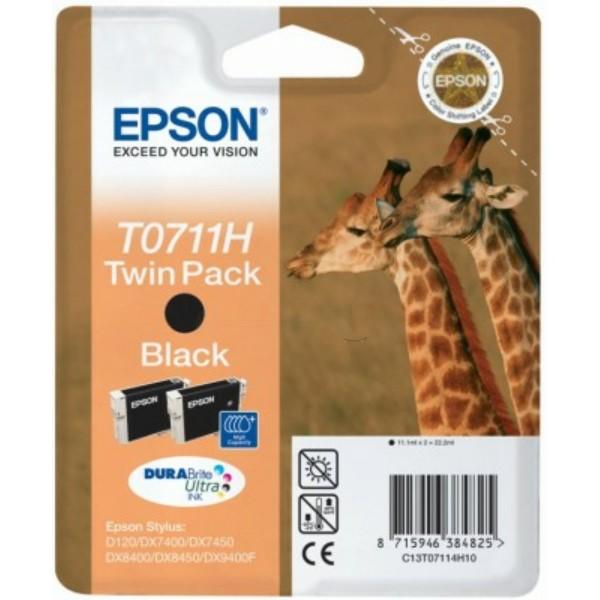 Original Epson C13T07114H10 / T0711H Tinte schwarz High-Capacity Doppelpack 11,1 ml 370 Seiten