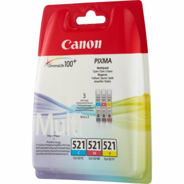 Original Canon 2934B010 / CLI-521 Tintenpatrone MultiPack C,M,Y 9 ml 446 Seiten