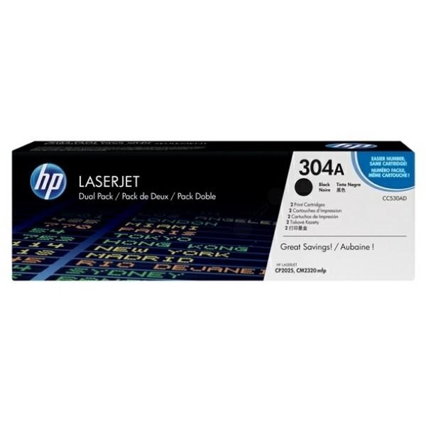 Original HP CC530AD / 304A Tonerkartusche schwarz Doppelpack 3.500 Seiten