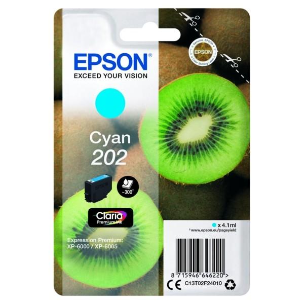 Original Epson C13T02F24010 / 202 Tintenpatrone cyan 4,1 ml 300 Seiten
