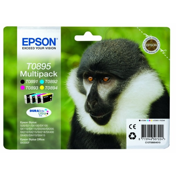 Original Epson C13T08954011 / T0895 Tintenpatrone MultiPack Bk,C,M,Y 5,8ml + 3x3,5ml