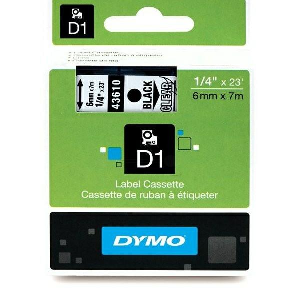 Original Dymo 43610 / S0720770 DirectLabel-Etiketten schwarz auf Transparent