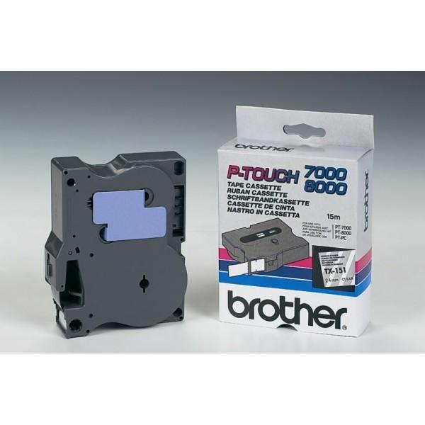 Original Brother TX151 DirectLabel schwarz auf Transparent