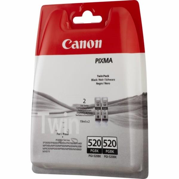 Original Canon 2932B012 / PGI-520 PGBK Tinte schwarz pigmentiert Doppelpack 19 ml 324 Seiten