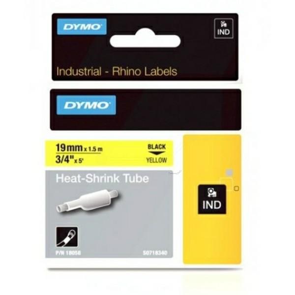 Original Dymo 18058 / S0718340 Heissschrumpfschlauch schwarz auf gelb