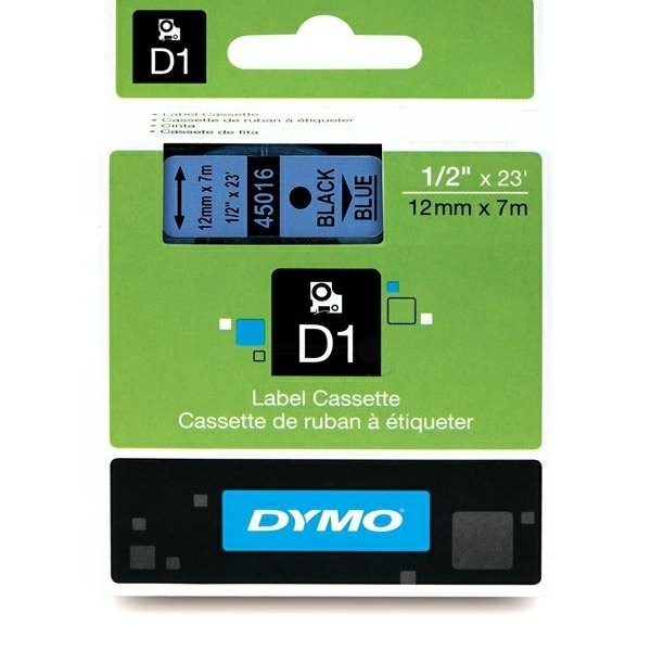 Original Dymo 45016 / S0720560 DirectLabel-Etiketten schwarz auf blau