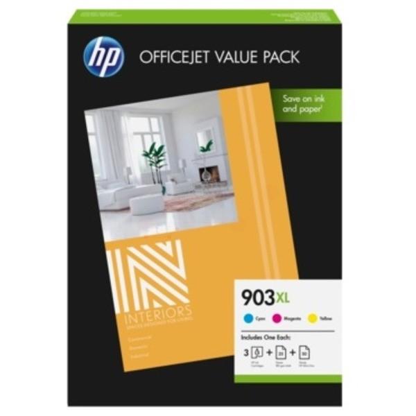 Original HP 1CC20AE / 903XL Tintenpatrone MultiPack C,M,Y + Papier 25 Blatt 9,5 ml 825 Seiten