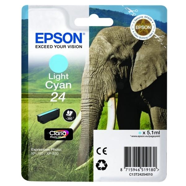 Original Epson C13T24254012 / 24 Tintenpatrone cyan hell 5,1 ml 360 Seiten