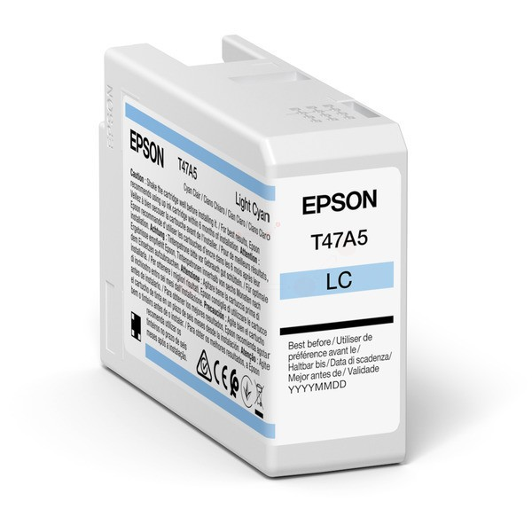 Original Epson C13T47A500 / T47A5 Tintenpatrone cyan hell 50 ml