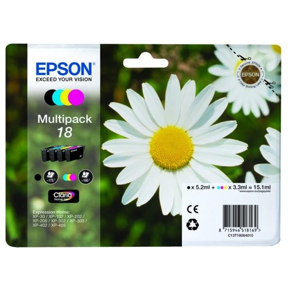 Original Epson C13T18064012 / 18 Tintenpatrone MultiPack Bk,C,M,Y 175pg + 3x180pg, 1x 5ml + 3x 3ml