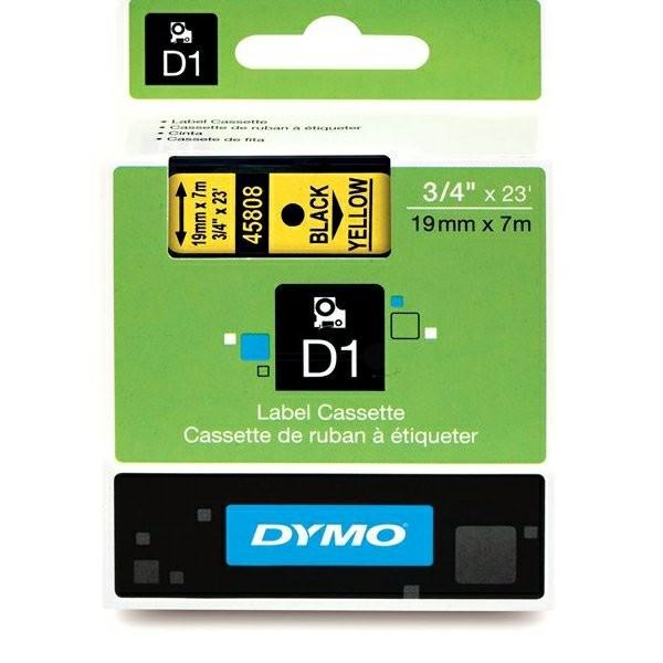 Original Dymo 45808 / S0720880 DirectLabel-Etiketten schwarz auf gelb