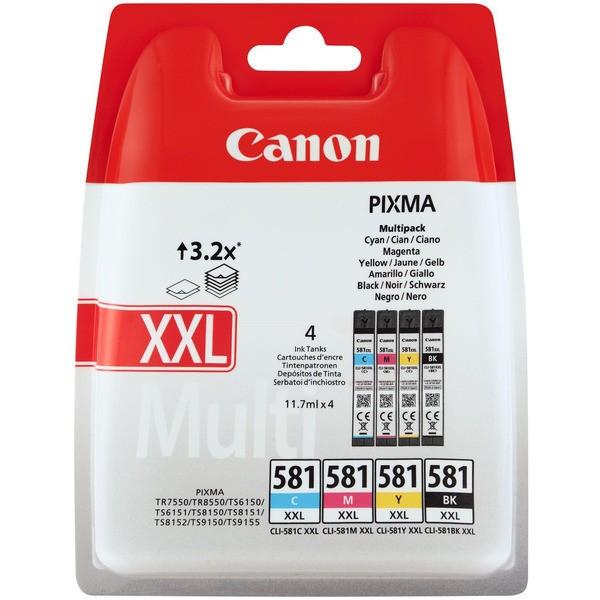 Original Canon 1998C005 / CLI-581 XXL Tintenpatrone MultiPack Bk,C,M,Y 11,7 ml 6360/820/760/824 pg