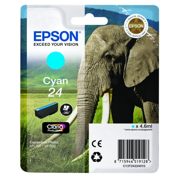Original Epson C13T24224012 / 24 Tintenpatrone cyan 4,6 ml 360 Seiten