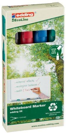 Boardmarker 28 EcoLine. Nachfüllbar. Geruchsarme Tinte ohne Zusatz von Butyl Acetat. Kann einige Tage offen liegen bleiben, ohne einzutrocknen. Rundspitze, Spitze austauschbar. Filtersystem. Kunststoffteile insgesamt zu mindestens 90 % aus recyceltem Mate