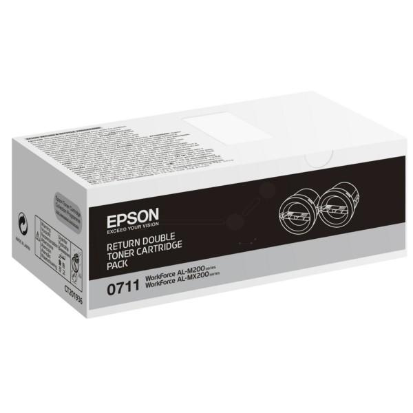 Original Epson C13S050711 / 0710 Tonerkartusche schwarz Doppelpack return program 2.500 Seiten