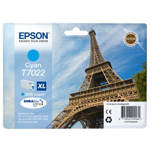 Original Epson C13T70224010 / T7022 Tintenpatrone cyan XL 21,3 ml 2.000 Seiten