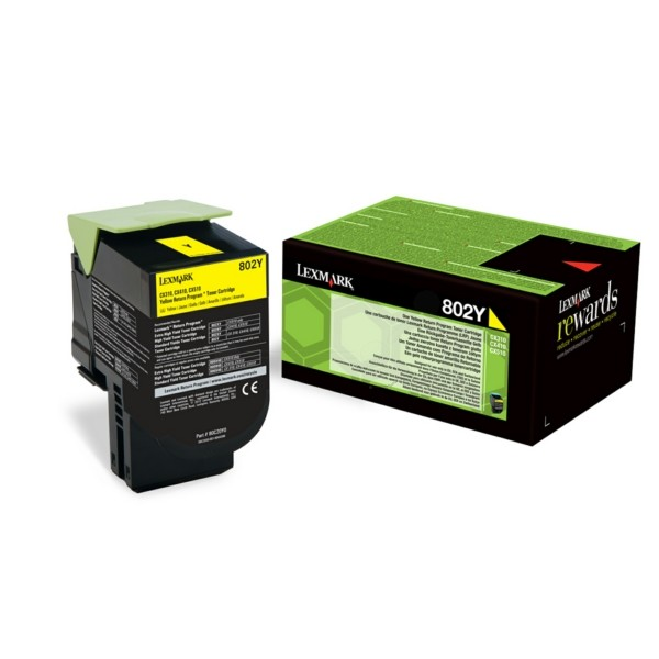 Original Lexmark 80C20Y0 / 802Y Toner-Kit gelb return program 1.000 Seiten