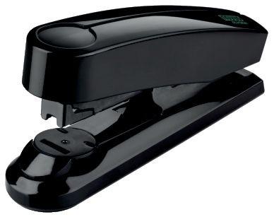 Nachhaltiges Flachheftgerät für den professionellen Tagesgebrauch, Vollmetallgerät mit glänzender Kunststoffummantelung aus nachhaltigem Rezyklat, Bewährtes System bei Flachheftgeräten für die offene und geschlossene Heftung sowie Möglichkeit zum Nageln