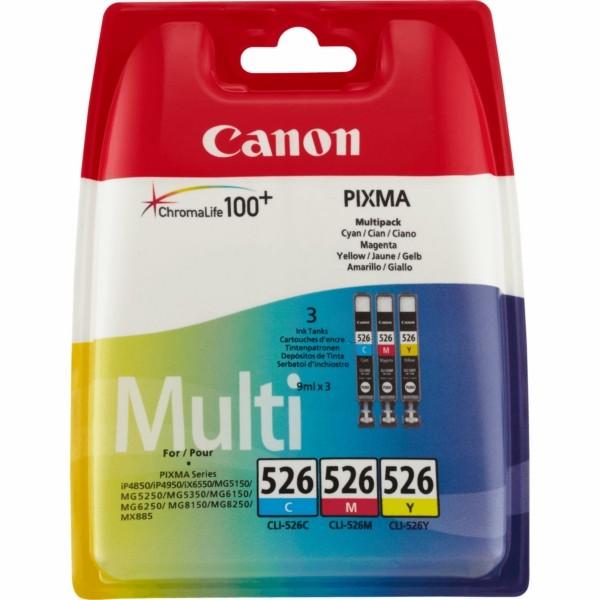 Original Canon 4541B009 / CLI-526 Tintenpatrone MultiPack C,M,Y 9 ml 450 Seiten
