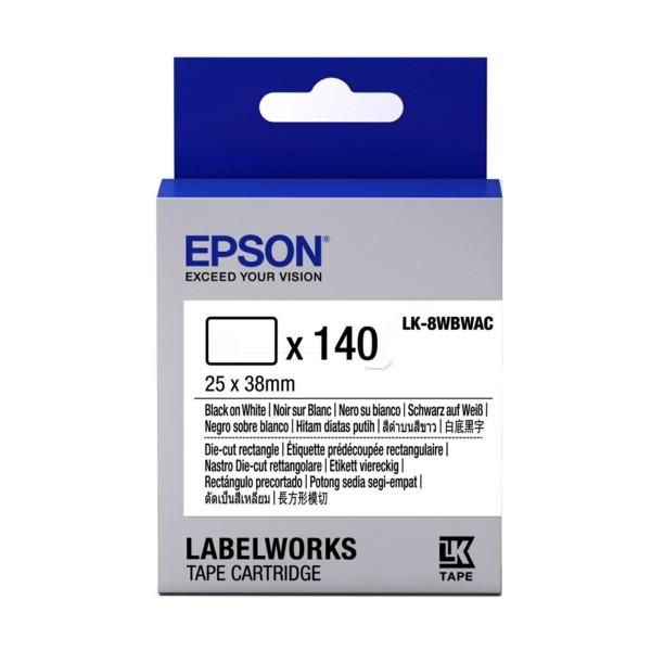Original Epson C53S658903 / LK-8WBWAC DirectLabel-Etiketten schwarz auf weiss Die-Cut rectangle