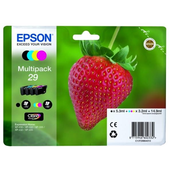 Original Epson C13T29864012 / 29 Tintenpatrone MultiPack Bk,C,M,Y 5,3ml + 3x3,2ml