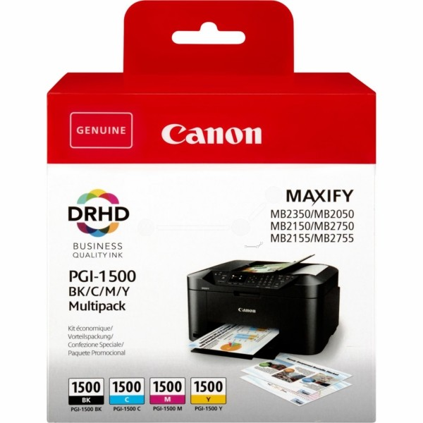 Original Canon 9218B005 / PGI-1500 BKCMY Tintenpatrone MultiPack Bk,C,M,Y 12,4ml + 3x4,5ml