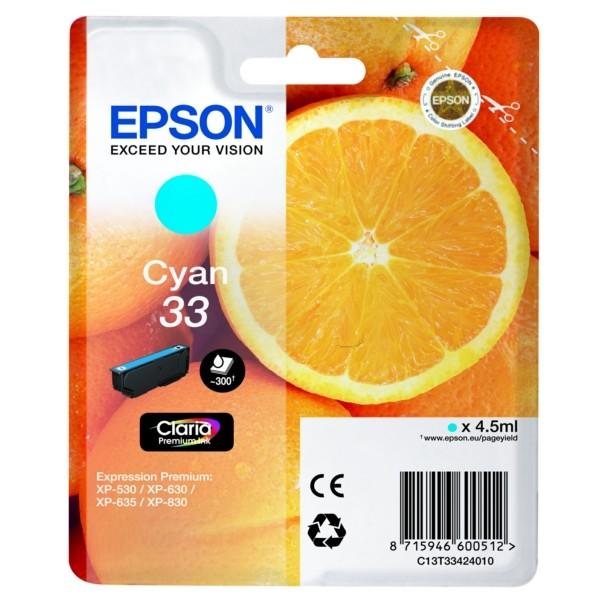 Original Epson C13T33424012 / 33 Tintenpatrone cyan 4,5 ml 300 Seiten