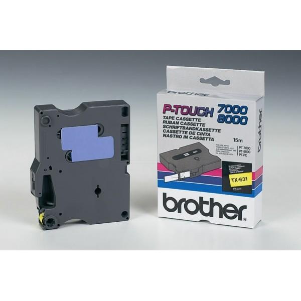 Original Brother TX631 DirectLabel schwarz auf gelb