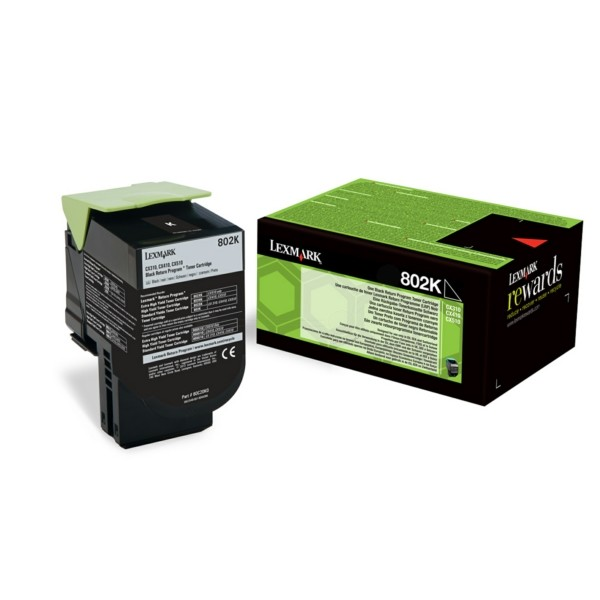 Original Lexmark 80C20K0 / 802K Toner-Kit schwarz return program 1.000 Seiten