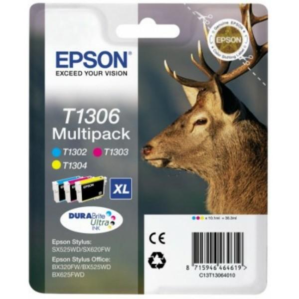 Original Epson C13T13064010 / T1306 Tintenpatrone MultiPack C,M,Y XL 3x10.1ml
