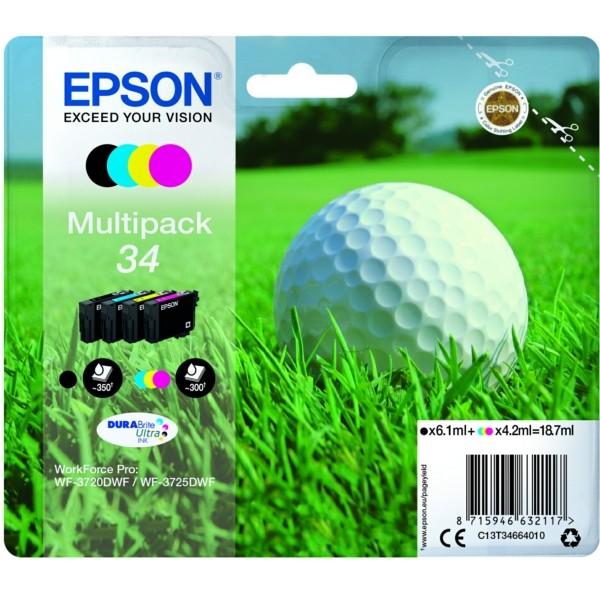 Original Epson C13T34664010 / 34 Tintenpatrone MultiPack Bk,C,M,Y 6,1ml + 3x4,2ml