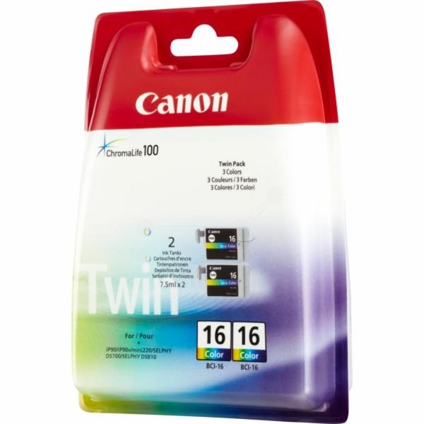 Original Canon 9818A002 / BCI-16 C Tintenpatrone color Doppelpack 2,5 ml 100 Seiten