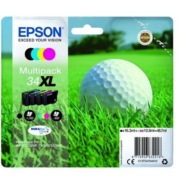 Original Epson C13T34764010 / 34XL Tintenpatrone MultiPack Bk,C,M,Y 16,3ml + 3x10,8ml
