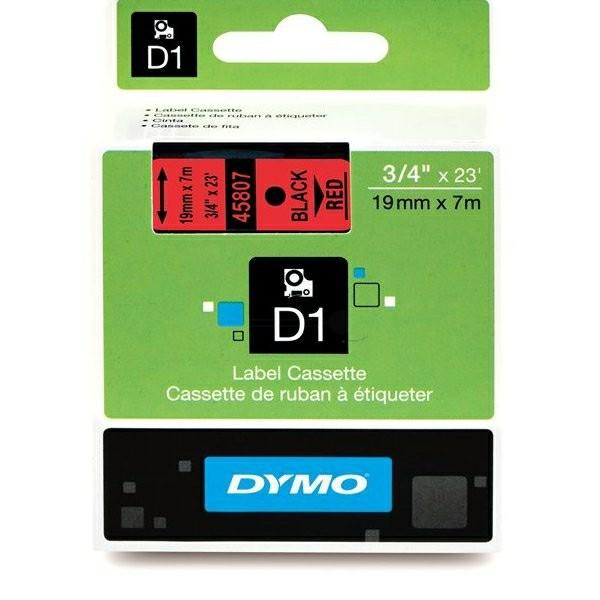 Original Dymo 45807 / S0720870 DirectLabel-Etiketten schwarz auf rot