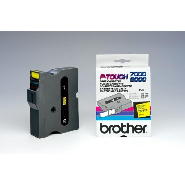 Original Brother TX651 DirectLabel schwarz auf gelb